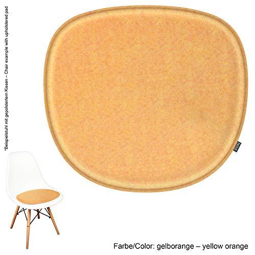 Feltd. Eco Filz Kissen geeignet für Vitra/Hermann Miller Eames Plastic & Fiberglass Sidechairs (DSW,DSS,DSX,DSR) Variante ohne Armlehnen! (gelborange)