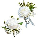 WISMURHI 1 Satz Boutonniere Hochzeit Rose, Boutonniere Braut und Handgelenksblume, Ansteckblume Bräutigam, für Hochzeiten, Bankette, Jubiläumsdaten Partydekoration (1Boutonniere +1Handgelenksblume)