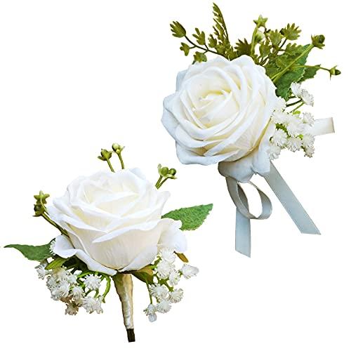 WISMURHI Boda Boutonniere Rose, Ramillete Novio, Nupcial Ramilletes, Dama de Honor Boda...