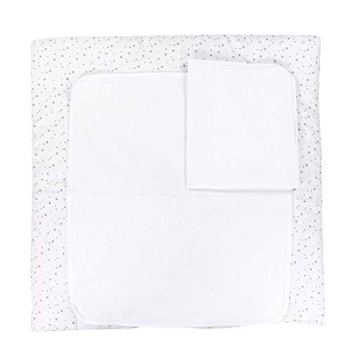 TupTam Baby Wickelauflage inkl. 2 Frotteebezüge ANK019, Farbe: Sterne Grau, Größe: 75 x 80 cm