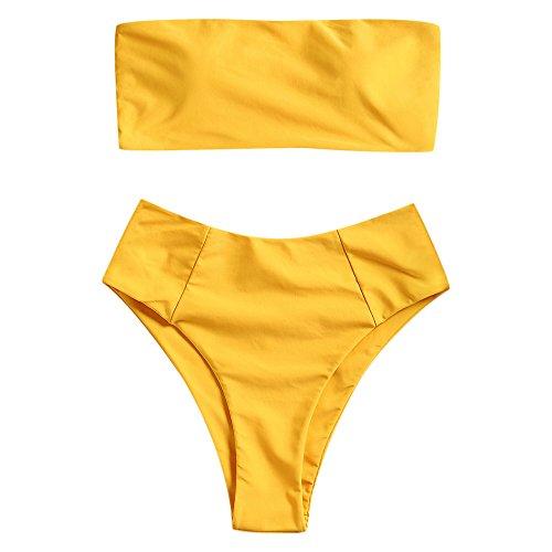 ZAFUL Women's High Cut Bandeau Bikini Set Strapless Solid Color 2 Pieces Bathing Suit Swimsuit Yellow M