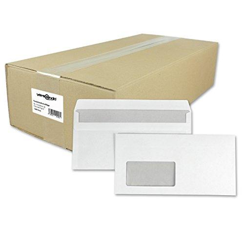versando Briefumschläge, Versandtaschen weiß mit/ohne Fenster selbst- bzw. haftklebend ((e) 1000 Stück, IN lang, weiß, mit Fenster, selbstklebend)