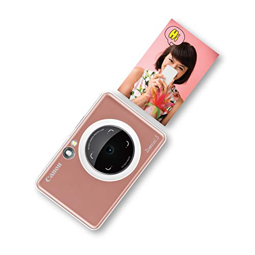 Canon Zoemini S Sofortbildkamera digital 8 MP (inkl. Mini Fotodrucker, Sucher, Ringblitz, Selfie Spiegel (36x24mm), Micro SD Kartenslot, Print App, ZINK-Druck tintenfrei, 188g), rose gold