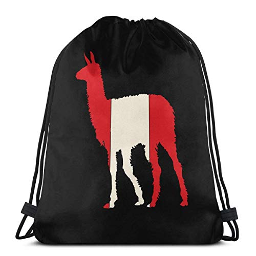 EU South America Flags Peru Andes Llama Fashion drawstring backpack bag fitness bag large capacity storage bag