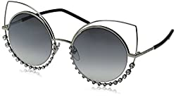 Gray Silver Marc16s Cateye Sunglasses with Rhinestones