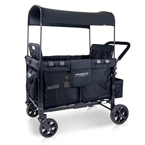 Cheapest Prices! WonderFold Wagon Multi-Function Four Passenger Spacious Folding Quad Stroller with Slidable Removable Canopy and Seats up to 4 Toddlers, Black