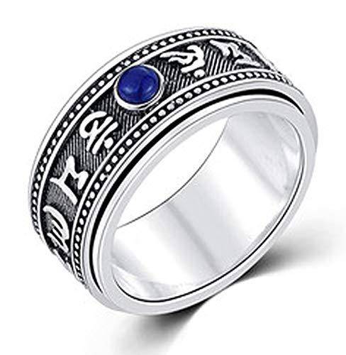 RXSHOUSH Anillo Mantra de seis caracteres para hombre, anillo de plata S925 con incrustaciones de lapislázuli, anillo de regalo de moda para hijo novio 16#