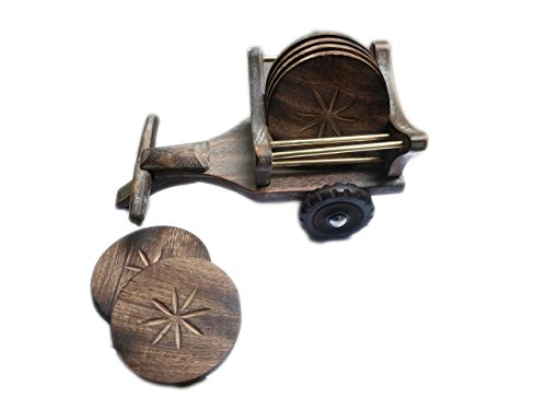 Beautiful antique fait à la main Thé/Café en bois table de salle à manger Décor carré Dessous de Verre Lot de 6, cadeau en bois de l'article par Hind artisanale motif 1
