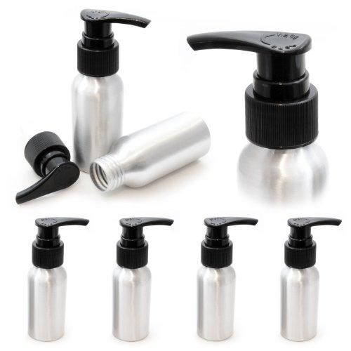 4er Set Aluminium Pumpe/Spender 50ml, Reise-Seifenspender mit schwarzem Aufsatz, Farbe: Silber - Marke Ganzoo