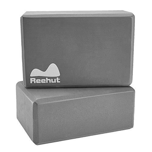 Reehut ヨガブロック(2個)、23cm x 15cm x 10cm ― 高密度 EVA 発泡体 ブロック、ポーズ補助や改善、体力増強、バランス補助や柔軟性向上に最適 - 軽量、耐臭性&防湿性(グレー)