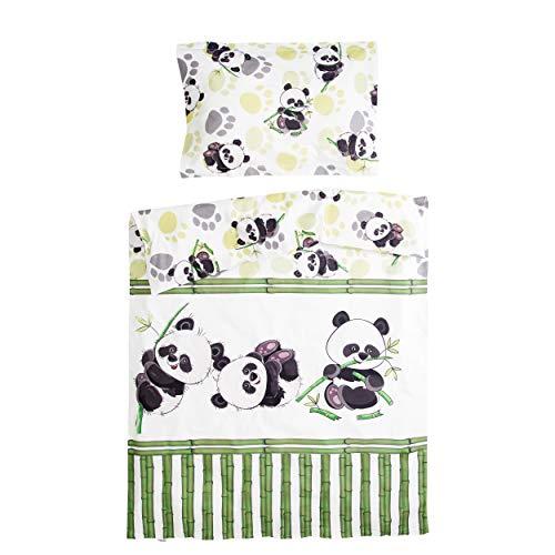 Bambou panda - Pati'Chou 100% Coton Parure Linge de lit pour bébé (Taie d'oreiller et Housse de couette 100x140 cm)