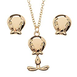 Image: Looney Tunes Tweety Bird Jewelry Necklace and Earrings Set
