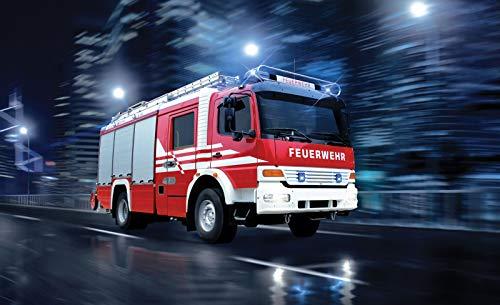 Forwall Fototapete Vliestapete Wanddeko Feuerwehrfahrzeug Feuerwehr - 3D Stadt Junge Kinderzimmer Moderne Wanddekoration Wandbild 1924VEXXXL 416cm x 254cm