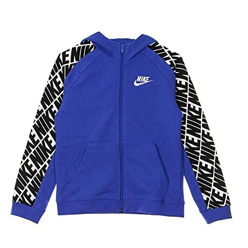 NIKE CJ7887-480 Hooded Sweatshirt, Game Royal/White, XS Boys