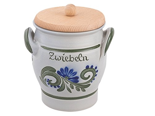 vivApollo Zwiebeltopf mit Holzdeckel Vorradsdose Original westerwälter Kannenbäckerland salzglasierte Steinzeug Keramik (onezize, grün-blau)