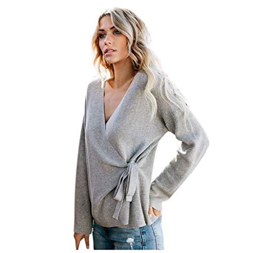 HUI.HUI Mode Femmes Wrap Col en V À Manches Longues Gaufre Tricoté Hauts Pull Coupe Slim Pulls Blouse