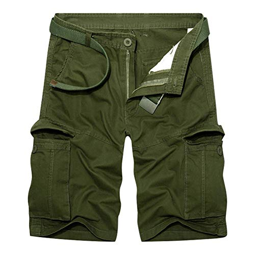 d.Stil Cargo Pantaloni Corti Uomo Bermuda Casual Tuta da Uomo Sportiva E per Il Tempo Libero Estiva (Verde Militare, W33)