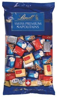 Lindt Napolitains Mischbeutel, Schweizer Mini Schokoladentäfelchen in 6 Varianten, 1er Pack (1 x 1kg)