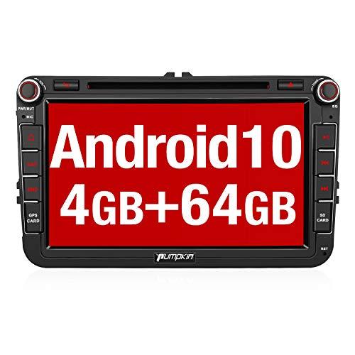 Pumpkin Android 10 Autoradio GPS Compatible para VW Radio con DVD, 4+64GB PX6, Coche Estéreo Radio soporta Control Volante, Bluetooth, Mirror-Link, USB, WiFi, Subwoofer, con 8' Pantalla Táctil