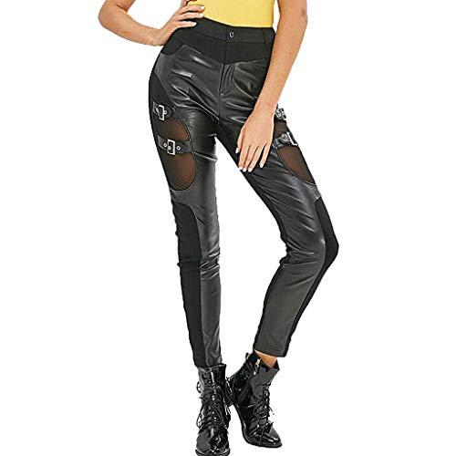 Panty's, joggingbroeken, brede broeken, broeken, stijl en wijsse vrouwen visnet orde veters bovenaan leren broeken dunne gotische punkgamassen Medium zwart