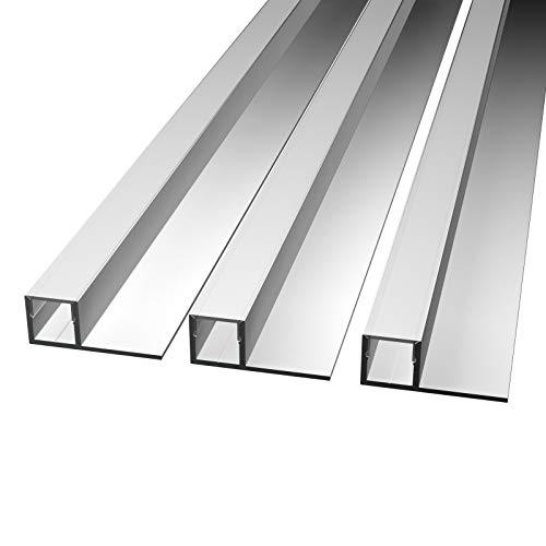 MOLA (MO-112) Fliesenprofil Aluminium 3x2m   Fliesen-Abschlussleiste für Led Streifen bis 1cm Breite   U-Profil Fliesenschiene + Acryl Abdeckung   (White, 3 x 2 m; Abstrahlung nach vorne)