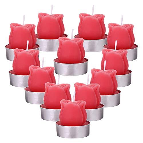 FANTESI 12 Piezas de Velas de Luz de Té, Delicadas Velas de Flor de Rosa Hechas a Mano para la Fiesta de San Valentín, SPA de Bodas, Decoración de Hogar
