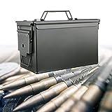 POEO Caja de munición de Rifle, Almacenamiento Militar de munición de Metal, con Tapa con bisagras extraíble, Pistola de Caza, Sello Impermeable,Large