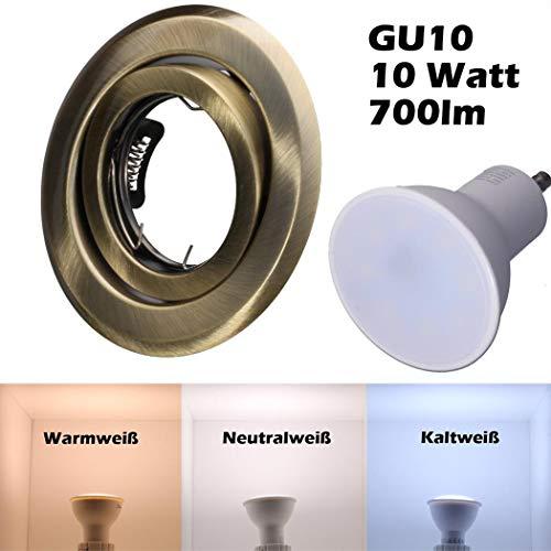 SMD LED Einbaustrahler 230 Volt 10W GU10 Spot Einbauspot Einbaurahmen Rahmen Altmessing Rund schwenkbar 35 Grad hg36-6 Neutralweiß