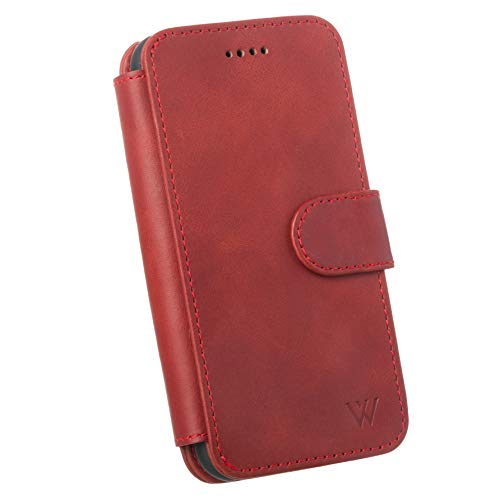 Wilken iPhone X | XS Leather Wallet with Detachable Phone Case | Wireless Charging Compatible | 100% Top Grain Cowhide Leather | Red