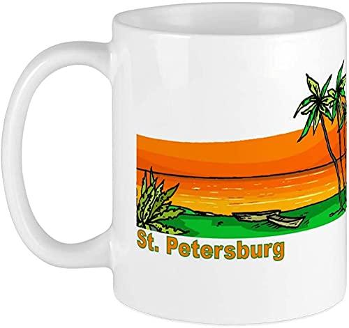 Taza de café de porcelana con diseño de San Petersburgo, Florida, personalizable, para viajes, oficina, hogar