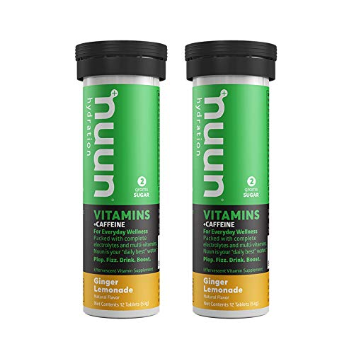 Nuun Vitamins + Energy: Ginger Lemonade Daily Supplement (2 Tubes of 12 Tablets)