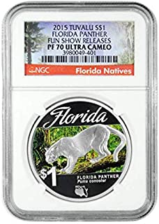 2015 TV Tuvalu $1 1 oz. Colorized Proof Silver Florida Natives Florida Panther $1 PF-70 Show Releases (Florida Label) NGC