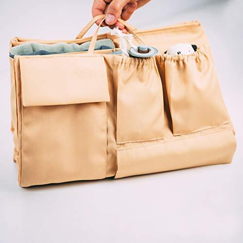 lilibell Baby Wickeltasche Handtasche Organizer, zahlreiche Fächer, wasserabweisend und flexibel für Shopper/Rucksäcke - Bag in Bag (Beige)