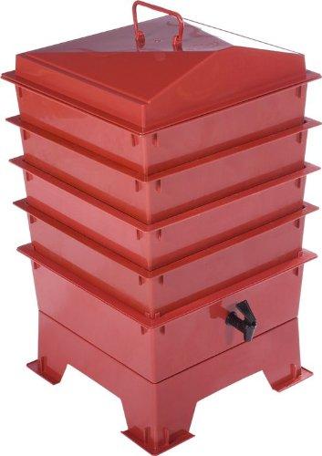 Lombricomposteur à 4plateaux Accès facile au compost Vers tigrés inclus Rouge terracotta