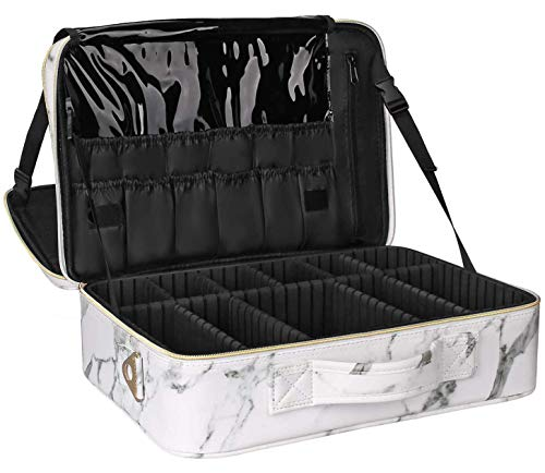 Relavel Makeup Bag Travel Makeup Train Case 13.8 inches Large Cosmetic Case Professional Portable Makeup Brush Holder Organizer and Storage with Adjustable Dividers (large marble white)