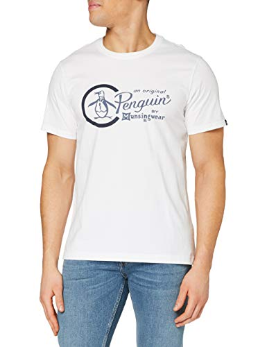 ORIGINAL PENGUIN Combo Logo Camiseta, Blanco (Blanco Brillante), S para Hombre
