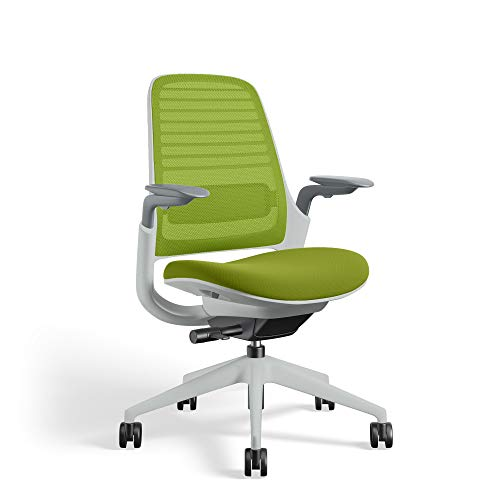 Series 1 Task Chair by Steelcase | Seagull Frame, Congent Connect Upholstery, 3D Microknit Back | Fully Adjustable Arms | Carpet Casters (Wasabi)