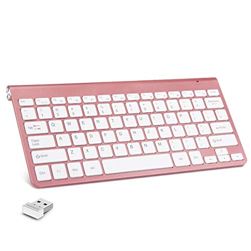 Mini USB Wireless Keyboard Small Computer Wireless Keyboards Slim Compact for Mac MacBook Pro External Keyboard for Laptop Tablet by AODOOR (Rose Gold)