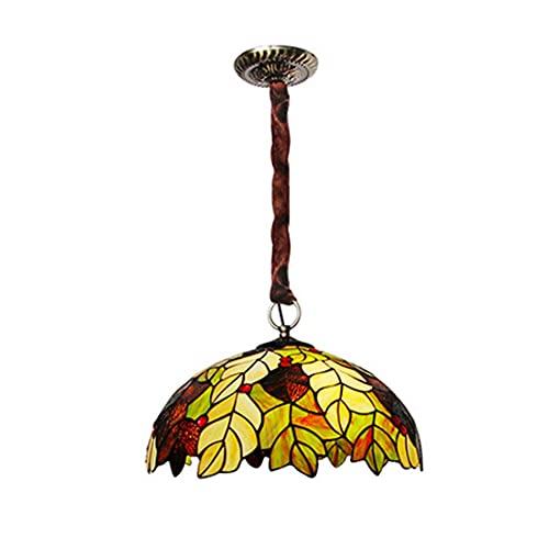 Suspension style Tiffany européen, 39,9 cm, faite à la main en vitrail pastoral, suspension créative pour chambre à coucher, salle à manger, salon, B