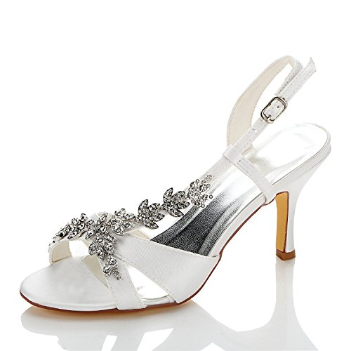 JIA JIA Damen Brautschuhe 1415A Offene Zehe Mittlere Ferse Satin Sandalen Strass Hochzeitsschuhe Farbe Weiß,Größe 41 EU