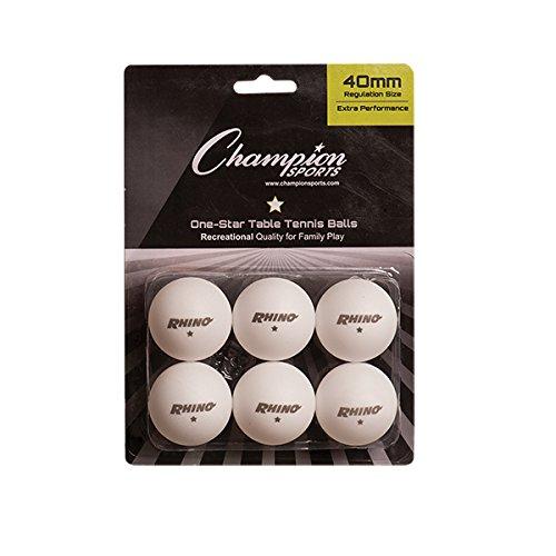 Champion Sports 1 pacote de bola de tênis de mesa estrela - bolas brancas de pingue-pongue, conjunto de 6, com design sem costura de 40 mm - equipamento de tênis de mesa recreativo, acessórios