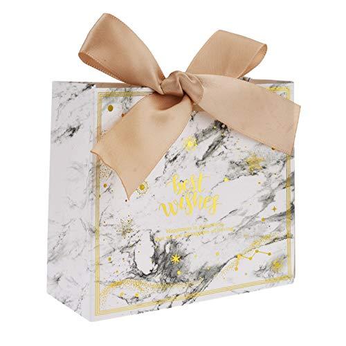 Flowow - 50 bolsas de regalo, 11,5 x 4,5 x 10 cm, diseño de flores blancas