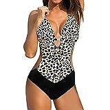 heekpek Traje de Baño Enterizo Mujer Bañadores Sexy Escote V Bañador Estampado Triangulo Bikini Brasileño Mujer Boho Ropa de Baño de Una Pieza