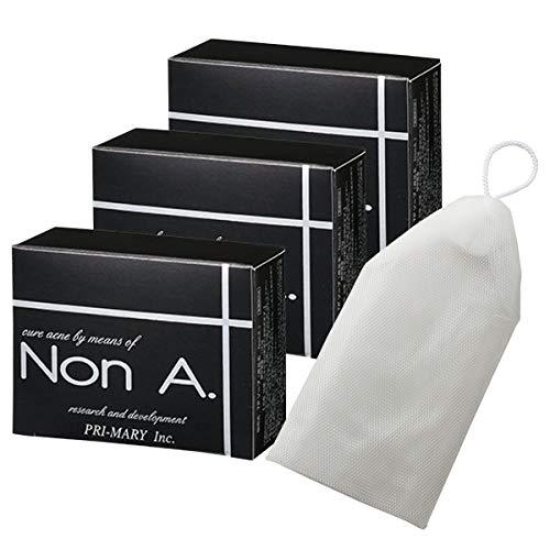 Non A. (ノンエー) 薬用 ニキビ専用 洗顔石鹸 (100g×3個 / 洗顔泡立てネット付) 無添加 固形 石鹸 医薬部外品 (プライマリー)