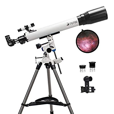 Telescopes for Adults, 70mm Aperture and 700mm Focal Length Professional Astronomy Refractor Telescope for Kids and Beginners - with EQ Mount, 2 Plossl Eyepieces and Smartphone Adapter