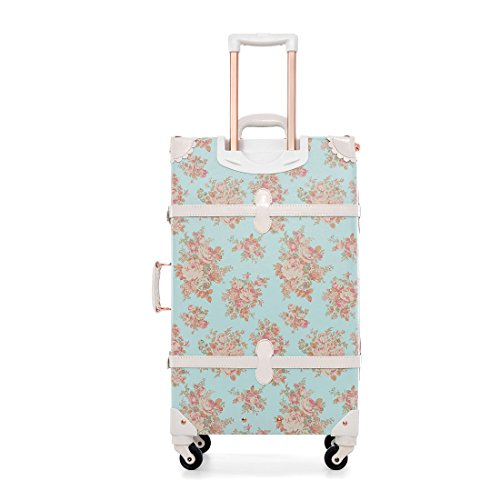 Women Blue Floral Pu Leather Travel Suitcase Apply to 20' - 26' with Spinner Wheels (26')