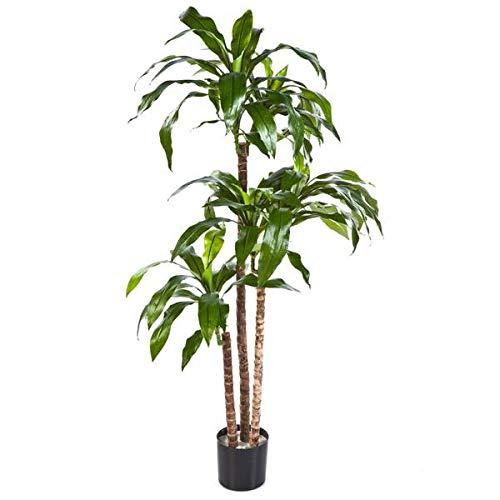 artplants.de Set 'Dracaena Fragrans sintética + Spray de protección UV' - Drácena de plástico Laura, Troncos Naturales, Verde, 120cm