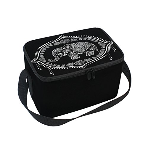 Use7 Lunchbox mit indischem Lotusblumen-Elefant, isoliert, für Picknick, Schule, Damen, Herren, Kinder
