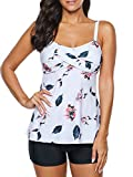 Zando Two Piece Swimsuits for Women Modest Tankini Top with Boyshort Swimsuits Slimming Ladies Teen Swimsuits Tummy Control Swimwear White Printed Flower X-Large (US 10-12)