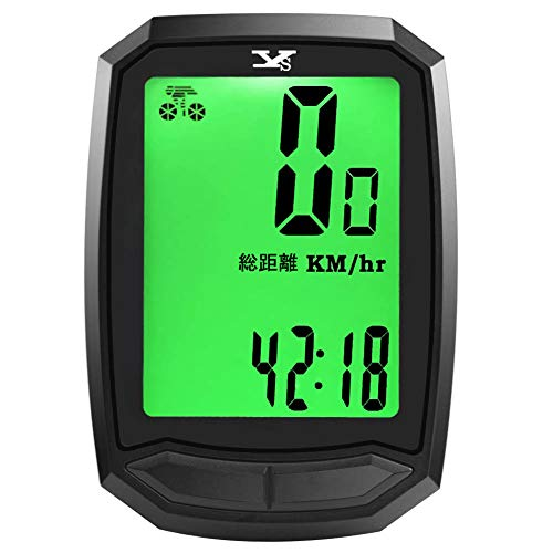 DINOKA サイクルコンピューター スピードメーター 日本語表示 自転車コンピューター サイクルメーター ワイヤレス 大画面表示 バックライト付き 自動電源ON/OFF 省エネ 防水スピード 走行距離計 走行時間計